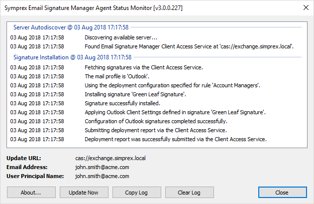 Using the Email Signature Manager Agent