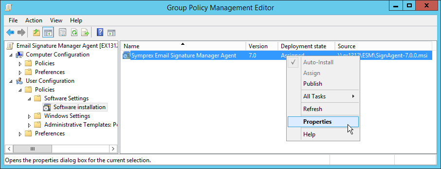 Installing the Agent using Group Policy Per User